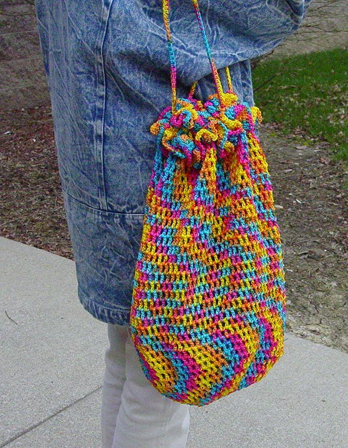 drawstring multi colored tote